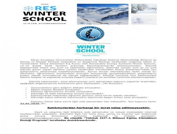 5. Yenilenebilir enerji sistemleri kış okulu
