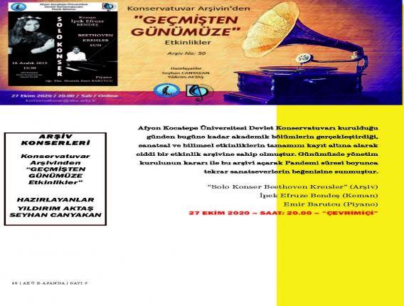 Arşiv Konserleri - Konservatuvar Arşivinden ''Geçmişten Günümüze Etkinlikler''
